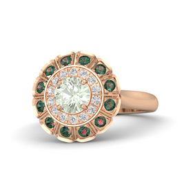 Round Green Amethyst 14K Rose Gold Ring with White Sapphire and Alexandrite