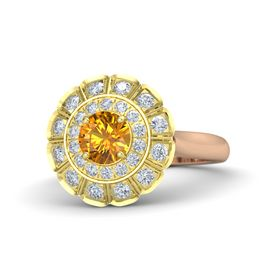 Round Citrine 14K Rose Gold Ring with Diamond