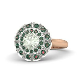 Round Green Amethyst 14K Rose Gold Ring with Alexandrite
