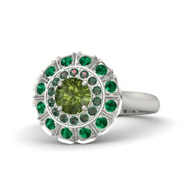 Round Green Tourmaline 14K White Gold Ring with Alexandrite and Emerald
