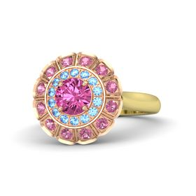 Round Pink Sapphire 14K Yellow Gold Ring with Blue Topaz & Pink Tourmaline