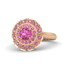 Round Pink Sapphire 18K Rose Gold Ring with Pink Tourmaline