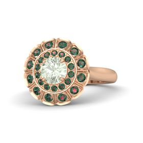 Round Green Amethyst 18K Rose Gold Ring with Alexandrite