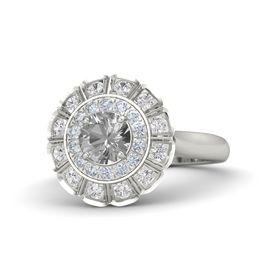 Round Rock Crystal Palladium Ring with Diamond and White Sapphire
