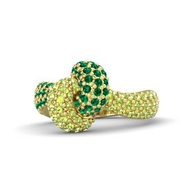 14K Yellow Gold Ring with Emerald & Peridot