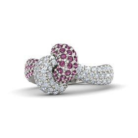 18K White Gold Ring with Rhodolite Garnet & Diamond