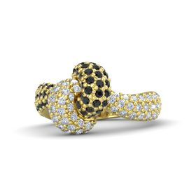18K Yellow Gold Ring with Black Diamond & Diamond