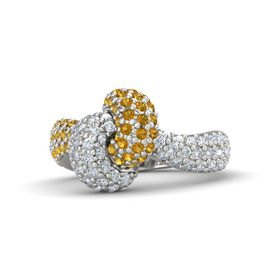 Palladium Ring with Citrine & Diamond