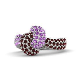 Platinum Ring with Amethyst and Red Garnet
