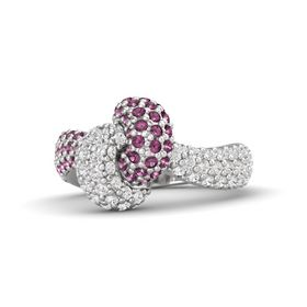 Sterling Silver Ring with Rhodolite Garnet and White Sapphire