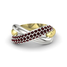 18K Yellow Gold Ring with Red Garnet