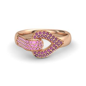 14K Rose Gold Ring with Pink Sapphire and Rhodolite Garnet