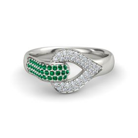 Palladium Ring with Emerald & Diamond