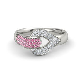 Palladium Ring with Pink Tourmaline & Diamond