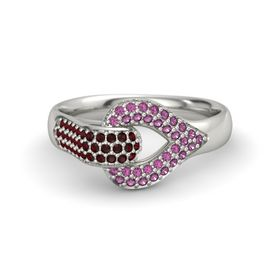 Platinum Ring with Red Garnet and Rhodolite Garnet