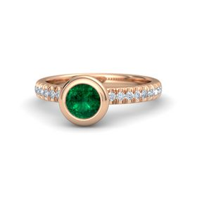 Round Emerald 14K Rose Gold Ring with Diamond