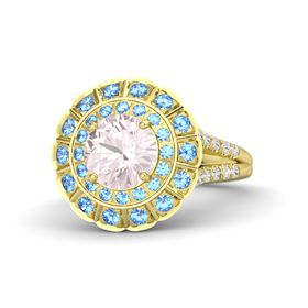 Round Rose Quartz 14K Yellow Gold Ring with Blue Topaz and White Sapphire