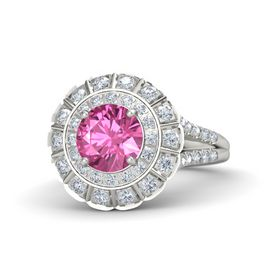 Round Pink Sapphire 18K White Gold Ring with Diamond
