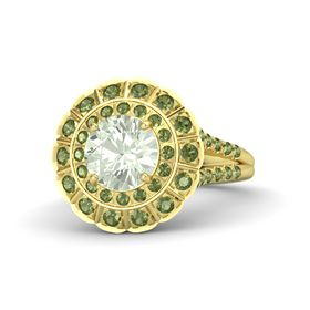 Round Green Amethyst 18K Yellow Gold Ring with Green Tourmaline