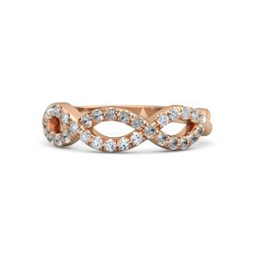 14K Rose Gold Ring with Rock Crystal and Diamond