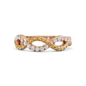 14K Rose Gold Ring with Citrine & White Sapphire