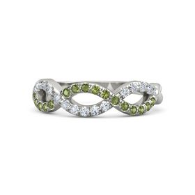 14K White Gold Ring with Green Tourmaline & Diamond