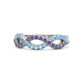 14K White Gold Ring with Iolite & Blue Topaz