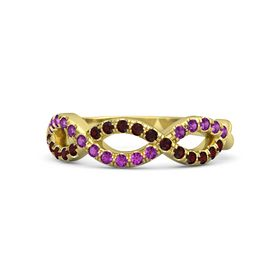 14K Yellow Gold Ring with Red Garnet and Rhodolite Garnet