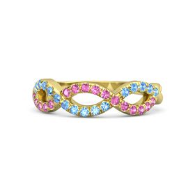 14K Yellow Gold Ring with Pink Sapphire and Blue Topaz