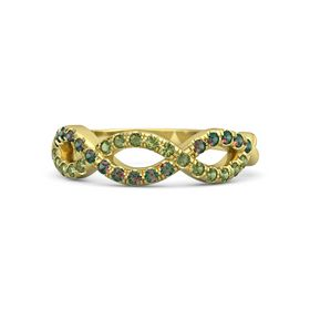 14K Yellow Gold Ring with Green Tourmaline and Alexandrite