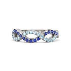 18K White Gold Ring with Aquamarine and Blue Sapphire