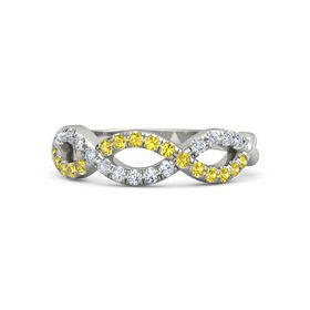 18K White Gold Ring with Yellow Sapphire and Diamond