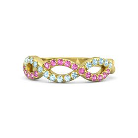 18K Yellow Gold Ring with Pink Sapphire and Aquamarine