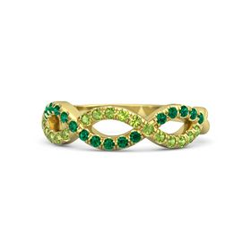 18K Yellow Gold Ring with Peridot & Emerald