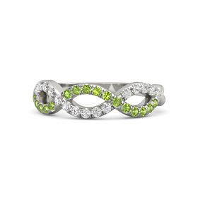 Platinum Ring with Peridot and White Sapphire