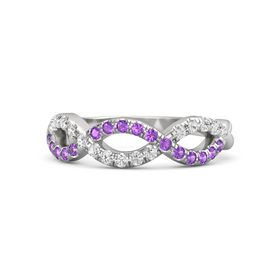 Sterling Silver Ring with Amethyst & White Sapphire