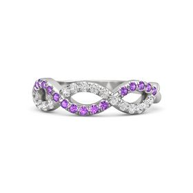 Sterling Silver Ring with White Sapphire and Amethyst