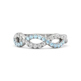 Sterling Silver Ring with Aquamarine & White Sapphire
