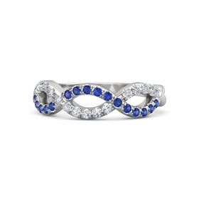 Sterling Silver Ring with Sapphire & Diamond