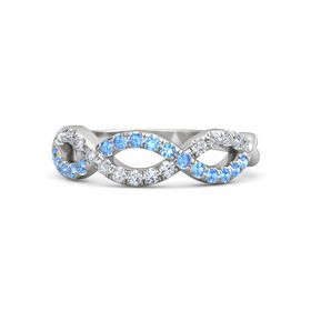 Sterling Silver Ring with Blue Topaz & Diamond