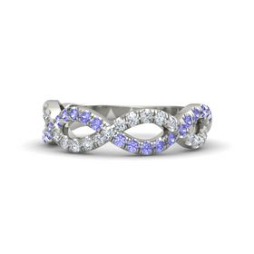 18K White Gold Ring with Tanzanite and Diamond