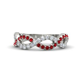 Platinum Ring with Ruby and Diamond