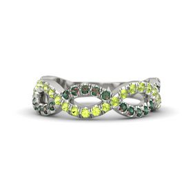 14K White Gold Ring with Peridot & Alexandrite