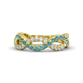 14K Yellow Gold Ring with London Blue Topaz & Diamond