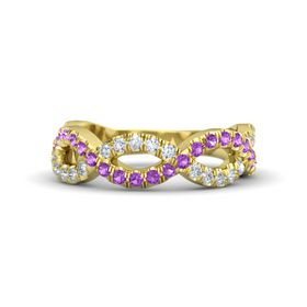 14K Yellow Gold Ring with Amethyst & Diamond