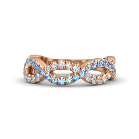 18K Rose Gold Ring with Blue Topaz and Diamond