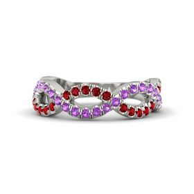 18K White Gold Ring with Amethyst & Ruby