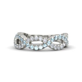Palladium Ring with Aquamarine & Diamond