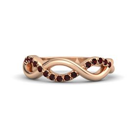 14K Rose Gold Ring with Red Garnet
