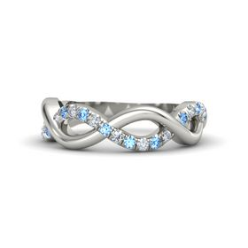 14K White Gold Ring with Blue Topaz and Diamond
